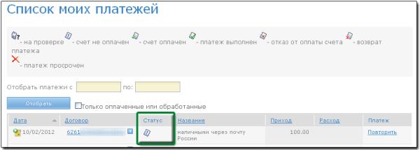 """Список платежей на странице """"История"""""""