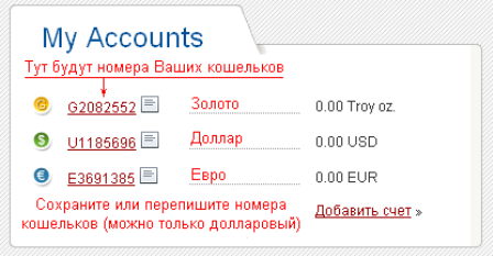 Счета в Perfect Money