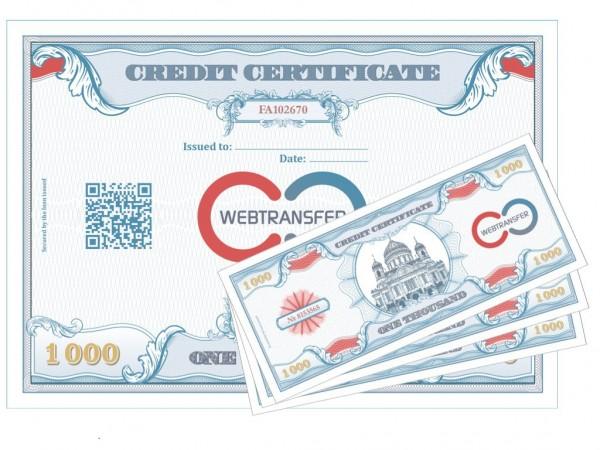 Кредитный сертификат Webtransfer