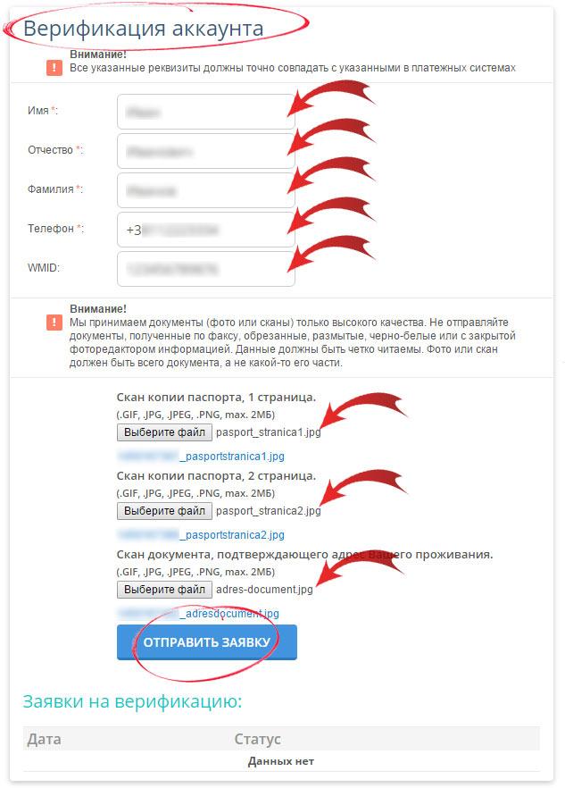 Заполнение заявки на верификацию